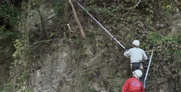 (映像教材4「鎌倉の景観を守る人たち」より。自然が荒れ放題にならないように活動をする風致保存会の人たち)